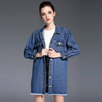 Autumn new models round neck long-sleeved fashion denim stitching single-breasted long coat flash
