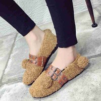 The new style fleece Curly Flats European market and the US market flattie round shape with the word buckle rivet ladies flat shoes plus velvet