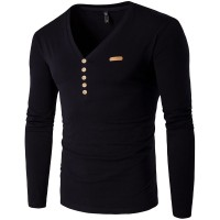 Autumn low price new style men's fashion casual long-sleeved t-shirt personalized decorative round neck