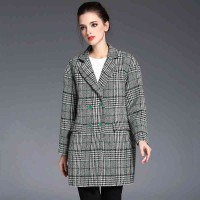 The new autumn and winter styles suit collar plaid long style double-breasted coat fashion Slim wool coat material