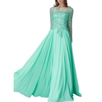 The new style hot selling water green diamond lace long-sleeved chiffon quick sale sexy wedding dress