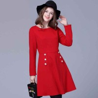 Partial figure large size women fat lady winter decorative buttons slim waist red dress good quality