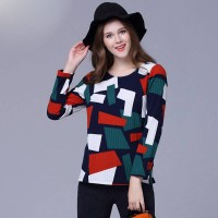 Overweight ladies large size women in Europe and America market winter new models plus fertilizer to increase the overweight ladies long-sleeved knit shirt bottoming colorful