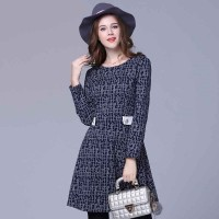Partial figure large size women fat lady winter fashion new style A slim version of Slim long-sleeved knit dress elastic
