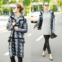 Europe station fashionable high-end double-sided cashmere coat colorful long style double-sided wool coat Slim