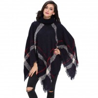 Popular autumn and winter fashion new style high-necked long-sleeved wool knit fringed loose loose casual sweater 27618