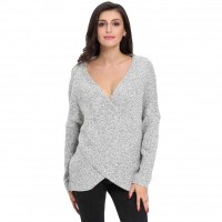 Popular Dongkuan gray long-sleeved V-shaped collar hedging loose simple casual wool knit sweater minimalist 27622