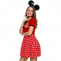 Halloween paragraph red dot pattern Mickey zipper on the side of Mickey Mouse headband dress stage performance clothing 89030