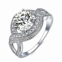 New models in Europe and the United States cross-market selling platinum ring set with diamonds lady