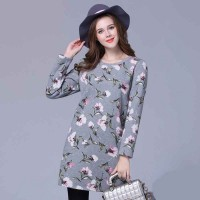 European market and the US market large size women's figure partial fat lady winter new models XL plus velvet suit long-sleeved knit dress bottoming