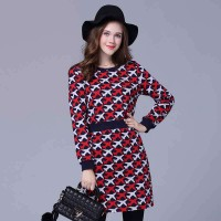 European market and the US market large size women's figure partial fat lady winter new style slim waist package hip long-sleeved dress pattern aircraft