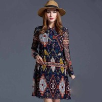 European market and the US market large size women's spring new style fashion Slim body overweight slim chiffon print dress