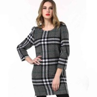 Women's autumn new models in Europe and the US market loose big yards brand figure partial fat lady Sleeve Plaid wool dress material