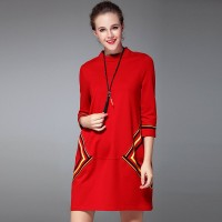 Ms. Slim dress new style loose slim European market and the US market casual cotton simple red dress