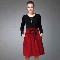 Autumn new models in Europe and the US market drawstring elegant long-sleeved round neck two-piece dress Slim deerskin material