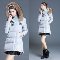 Ms. Slim Down a long slim style European market and the US market, the new models have thick fur collar white duck down hooded jacket