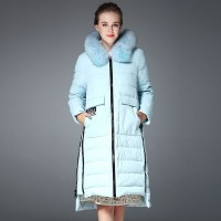 Fall Winter new style fur collar side zipper waist irregular hem long style down jacket
