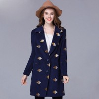 Large size women in Europe and America market winter new style of overweight ladies long style coat lapel wool material wool embroidered coats clothing materials