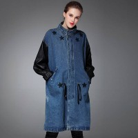 Fall Winter new style five-pointed star pattern paste leather sleeve style jacket