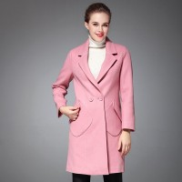 Autumn and winter the new style slit pocket style stick style long wool coat material