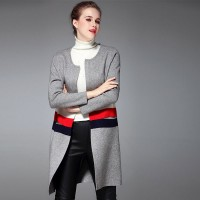 Autumn and winter new models in Europe and the US market fashion stitching striped knit coat loose big yards long style long coat