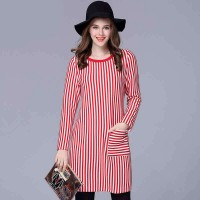 Promotions partial body fat ladies large size women plus thick velvet winter red and white striped knit dress bottoming body overweight