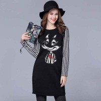 Large size women's winter new style fashion cartoon patch stitching partial body fat ladies bottoming thick knit dress