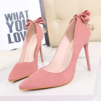 9616-28 after sexy slim high heels pointed fine with high-heeled shoe fluffy bow inlaid diamond heels