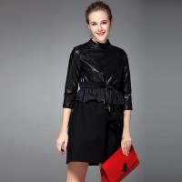 Autumn and winter new models in Europe and the US market fashion Slim stitching waist tether slim all match temperament dress