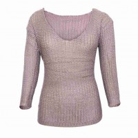 Popular autumn and winter new style V-collar long-sleeved loose pullover hollow retro fashion leisure section 27609