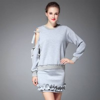 Autumn and winter new models in Europe and the US market fashion lace strapless solid color sweater Blouse