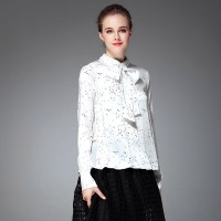 The new autumn and winter fashion style bow tie collar dot print long-sleeved shirt small shirt
