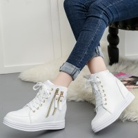Women Side Zipper Hidden Inner Heel Block Wedge Casual Shoes