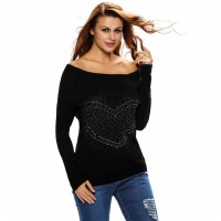 Popular autumn and winter the new style of the shape of the word love diamond collar long-sleeved knit sweater Slim strapless tops 27621