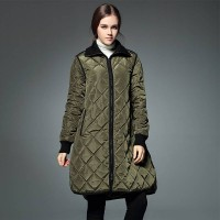 Winter retro big yards loose long-sleeved coat lapel solid color quilted long style Plaid casual jacket