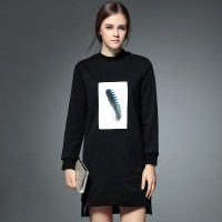 Fall Winter new style printing long style sweater Europe and the United States market, Ms. feather printed round neck slim