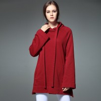 Fall Winter new style solid color hooded long style sweater