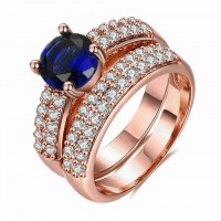 European and US markets lower price discount jewelry selling jewelry rose gold hot models double blue diamond ring set