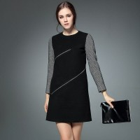 Autumn and winter new models in Europe and the US market fashion casual round neck metal zipper decoration mixed colors A-shaped dress shape