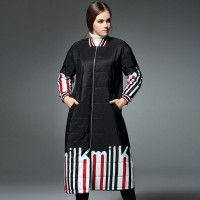 European leg of autumn and winter fashion all match stand up collar long-sleeved loose positioning printed long style padded jacket coat