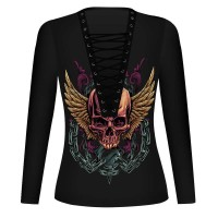 New long-sleeved collar strap skull digital prints T-shirt V-shirt Europe and the United States womens discount market
