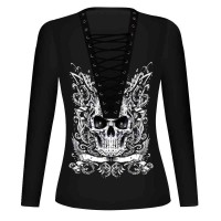 Hot Sales in Europe and the US market, the new womens skull pattern digital printing long-sleeved T-shirt V-collar shirt straps discounts