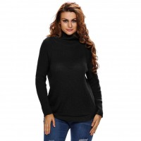 Popular new autumn and winter high-necked long-sleeved style side zipper hedging minimalist fashion sweater jacket 27638