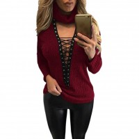 Fall Winter new style V-shaped collar popular fashion drawstring lace strapless knit sweater fashion casual jacket 27633