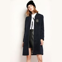 The new autumn and winter styles Bee embroidered wool material long loose coat style baseball uniform wool coat material
