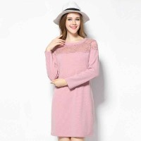 European market and the US market large size women's 2017 spring new models of partial body fat lady Slim Slim openwork lace long-sleeved knit dress