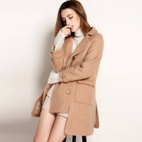 The new autumn and winter fashion all match double-breasted style short in front long style wool material split style overcoat