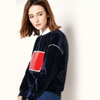 Fall and winter clothes new models in Europe and the US market loose long-sleeved sweater lady thickening minimalist style long silk coat material
