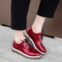 Students in early spring 2017 ladies shoes heel thick square head thick heel lady casual shoes lace leather boots popular single