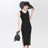 Round Neck Sleeveless Hollow Vest Dress Long Section Open Fork Package Hip Ladies Skirt